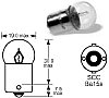 Bulb, indicator light, 6V, 10w,small glass BA15s