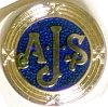 Badge, lapel, AJS, blue and silver, round.