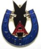 Badge, lapel, Ariel, horseshoe blue, red and gold