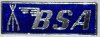 Badge, lapel, BSA , silver on blue, piled arms, rectangular