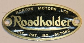 Badge, front forks, inc rivets, Norton LRH (ea)